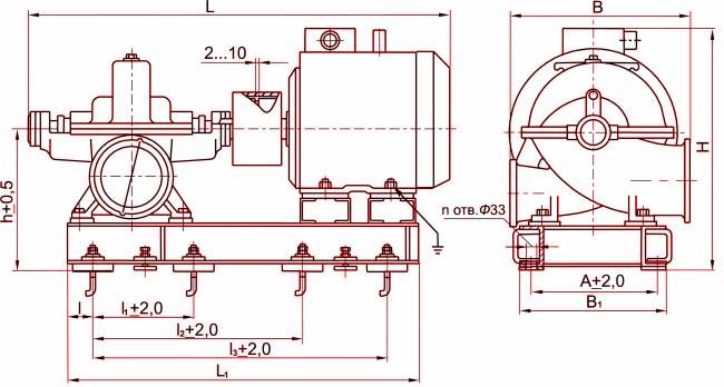 Габаритные размеры агрегата Д160-112