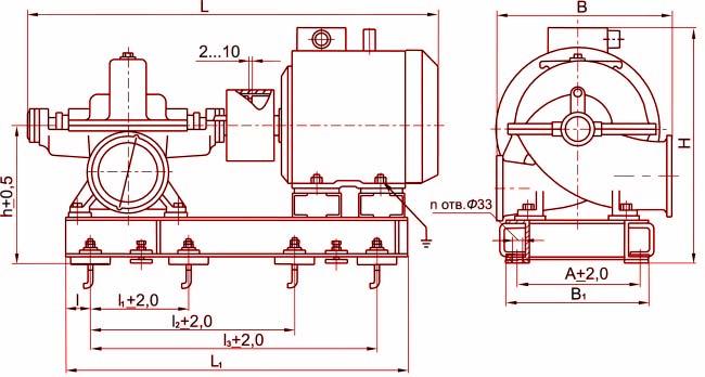Габаритные размеры агрегата Д200-36