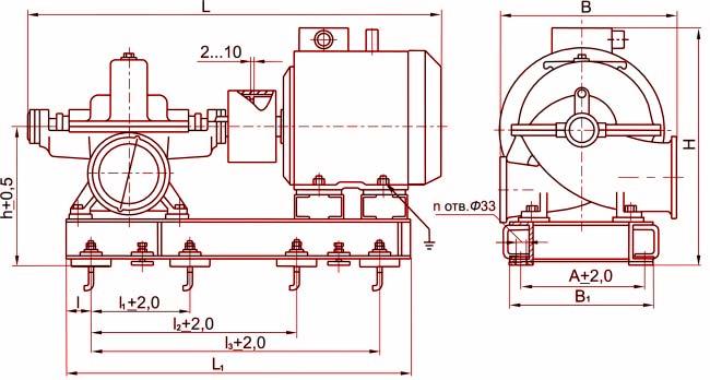 Габаритные размеры агрегата Д320-50